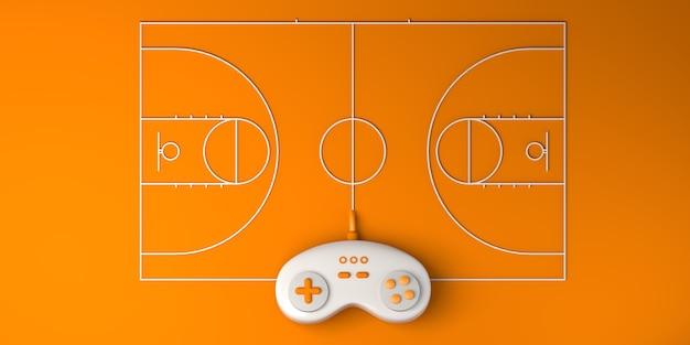 Online-e-sport-konzept. gamepad mit basketballplatz. spieler. spielen. banner. 3d-darstellung.