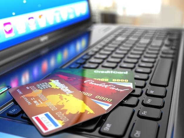 Online-kauf kreditkarte auf laptop-tastatur 3d