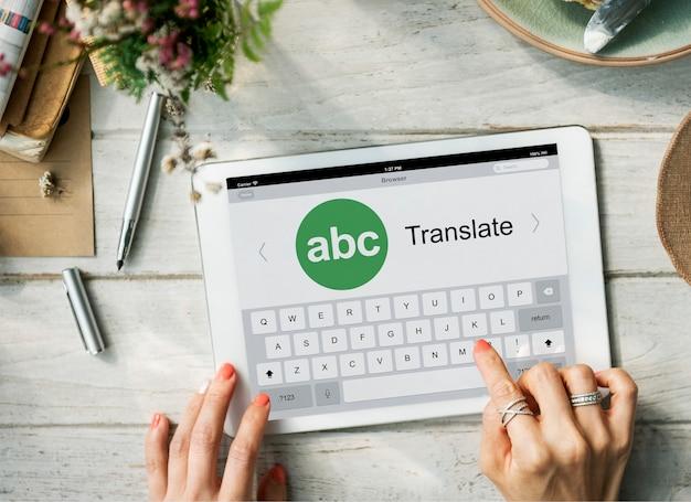 Online-konzept der digitalen übersetzungsanwendung