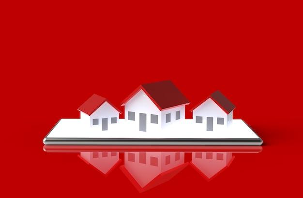 Online-konzept für wachstumsimmobilien. hausgruppe auf dem handy. 3d-abbildung.