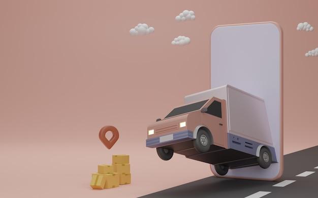 Online-lieferservice app-konzept, lieferwagen und handy mit pin am haus. 3d-rendering