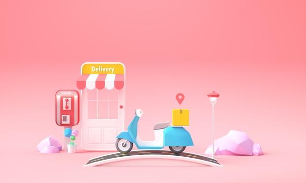 Online-lieferservice-konzept. schnelle und kostenlose lieferung, express-lieferservice mit paket- und roller-hintergrund für web-banner-vorlage. 3d-rendering-illustration