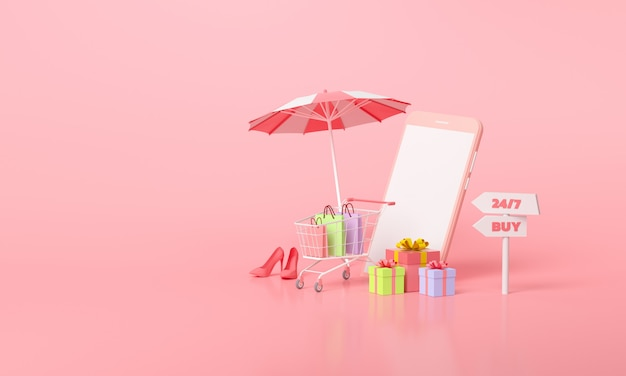 Online mobile shopping konzept. sommerverkaufsförderungsgeschenk und einkaufswagen auf rosa