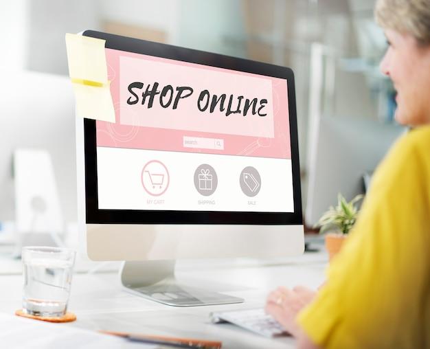 Online-shop kaufen internet-shopping-shop-konzept