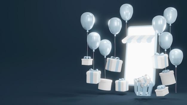 Online-shopping 3d-rendering von smartphone mit geschenkboxen und luftballons für kommerzielles design