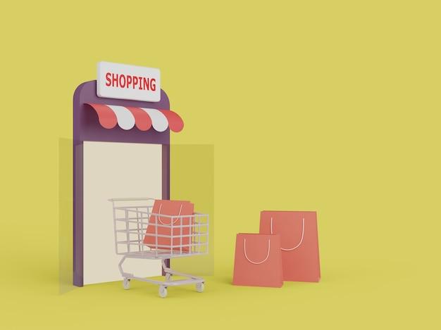 Online-shopping auf der website. online-shopping für mobile anwendungen. lieferkonzept. 3d-rendering