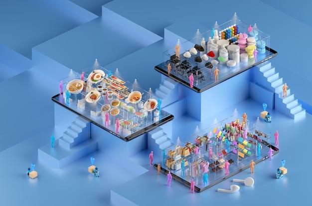 Online-shopping in einkaufszentren und lieferung über smartphone-anwendungen.