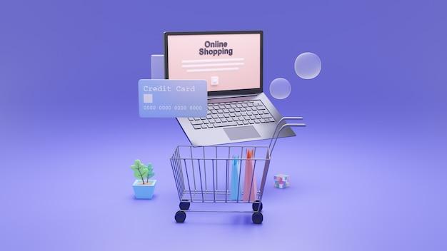 Online-shopping, isometrischer laptop und online-zahlungssicherheitstransaktion per kreditkarte.