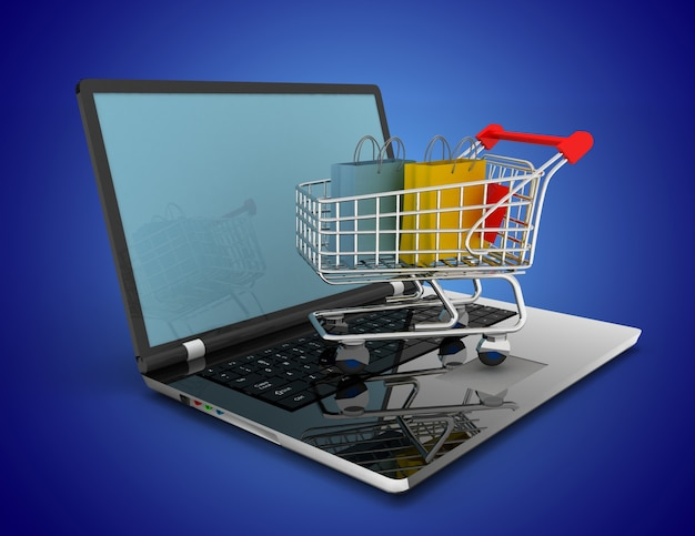 Online-shopping-konzept. 3d-darstellung