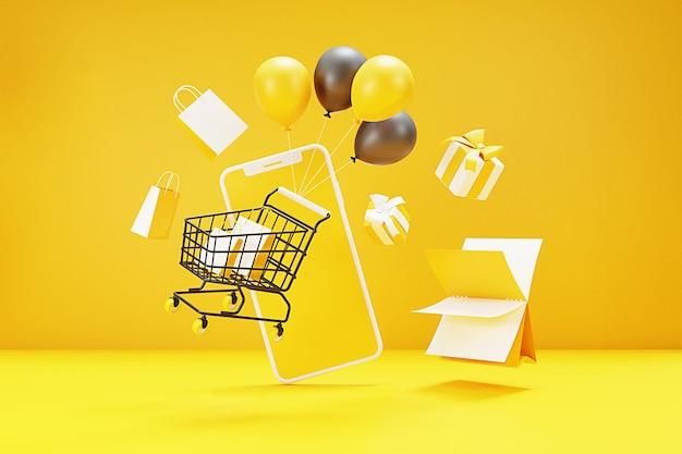 Online-shopping-konzept 3d mit einkaufswagen, tasche, geschenkbox, ballon und handy. 3d-rendering.