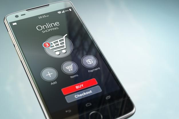 Online-shopping-konzept. handy oder smartphone mit warenkorb auf dem bildschirm. 3d-darstellung