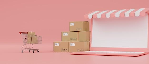 Online-shopping-konzept laptop mit mockup-bildschirm markisenwagen und boxen auf rosa hintergrund