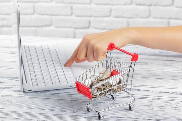 Online-shopping-konzept: mini-einkaufswagen und laptop