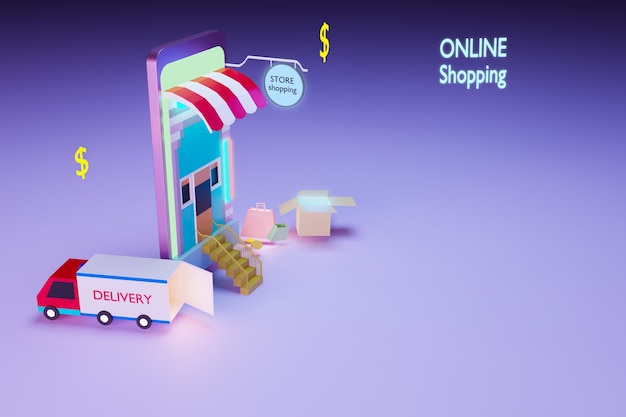 Online-shopping per smartphone, internet-marketing-konzept, 3d-rendering