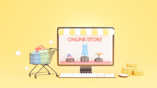 Online-shopping-shop auf desktop-konzept in 3d-rendering