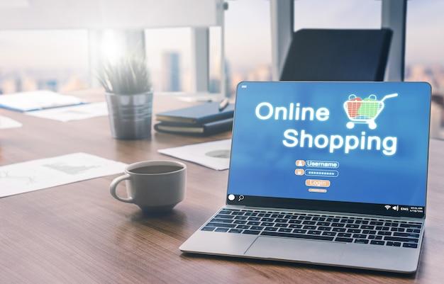 Online-shopping und internet-geldzahlungstransaktionstechnologie.