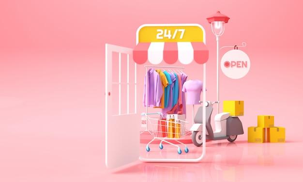 Online-shopping- und lieferkonzept. mobiler shop mit kleidung mit einkaufswagen und paketbox für lieferhintergrund. 3d-rendering-illustration.