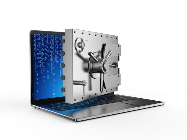 Online-sicherheitskonzept mit 3d-rendering-tresortür auf computer-notebook