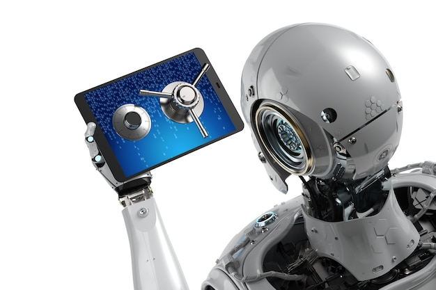 Online-sicherheitskonzept mit offener tresortür des roboters