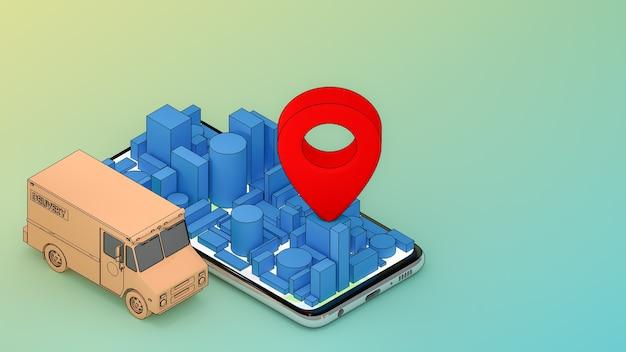 Online-transportservice für mobile anwendungen., lieferkonzept., 3d-rendering.