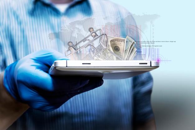 Online-verkäufe. analyse des geschäftswachstums. der geschäftsmann, der ein tablet verwendet, analysiert den online-umsatz und das wirtschaftswachstum. geschäftsstrategie, finanzen und bankwesen. digitales marketing.