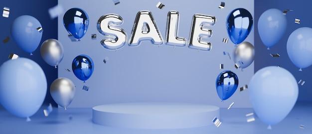 Online-verkauf in blauem konzeptbanner mit podium für produktpräsentation und ballons