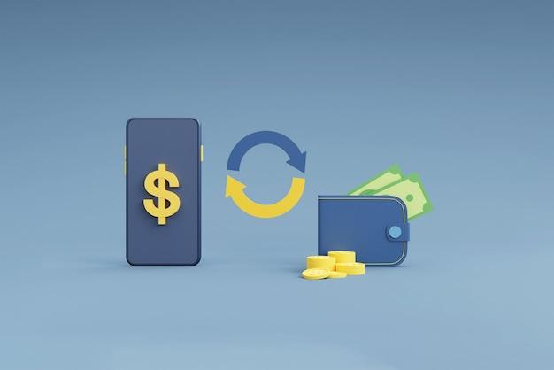 Online-währungs- und bankkonzept mit telefon und münze