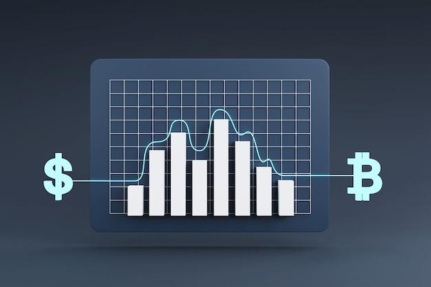 Online-währungsumtauschkonzept mit wechselkurs-wachstumsdiagramm