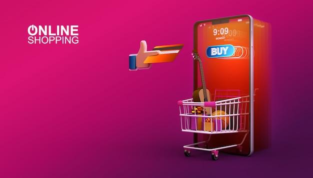 Onlineeinkaufen, bewegliche anwendung, illustration der wiedergabe 3d