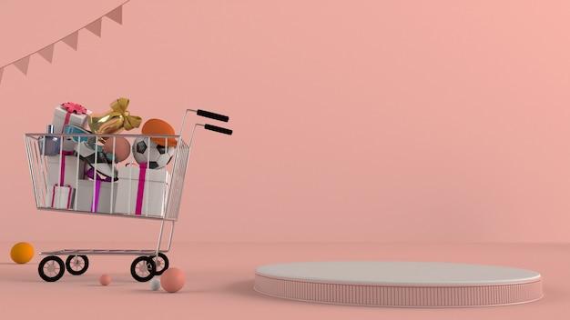 Onlineshop, einkaufsauto mit podium auf einem rosa hintergrund.