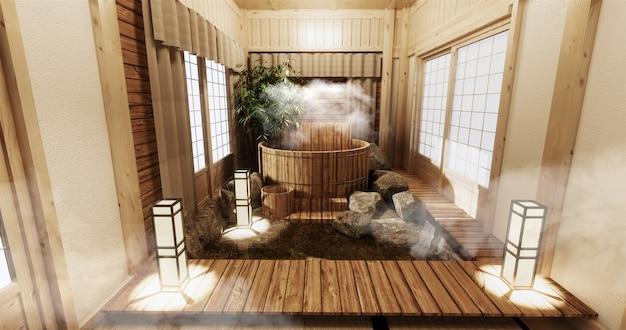 Onsen-rauminnenraum mit hölzernem bad und hölzerner japanischer art der dekoration