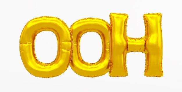 Ooh - wort aus einem goldenen ballon. 3d-rendering