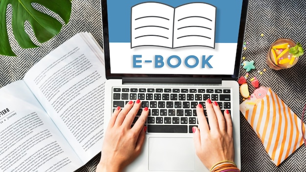 Open pages buch e-book online learning graphic concept