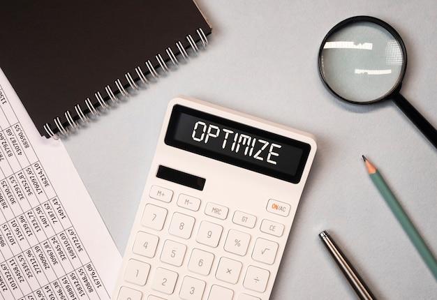 Optimieren sie das wort zum steuer- und finanzoptimierungskonzept des rechners