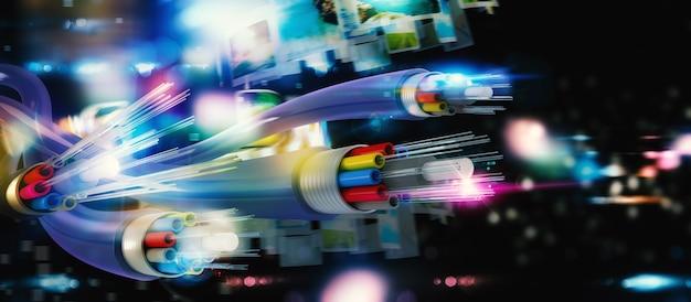 Optische fasern mit binärcodes. internetverbindung mit glasfaser