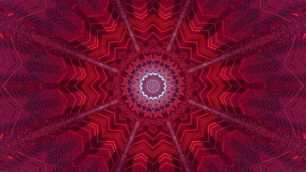 Optischer abstrakter hintergrund der optischen täuschung der 3d-illustration mit symmetrischem rotem geometrischem muster und neonstrahlen, die vom leuchtenden sternförmigen loch des fantastischen raumtunnels scheinen