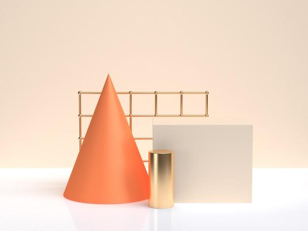 Orang gold geometrische form bilden weiße creme szene