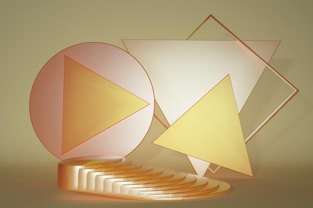 Orange 3d-podestständer auf gelber farbe mit leerem platz für die produktpräsentation product