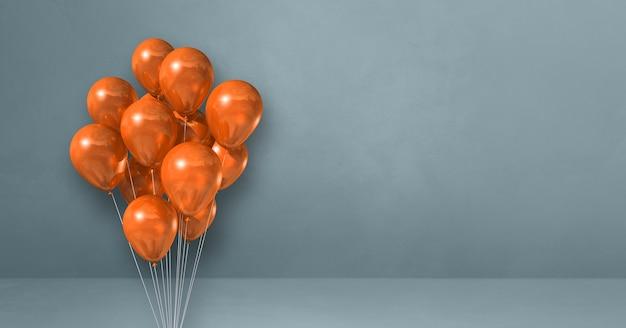 Orange ballons bündeln auf einem grauen wandhintergrund. 3d-rendering