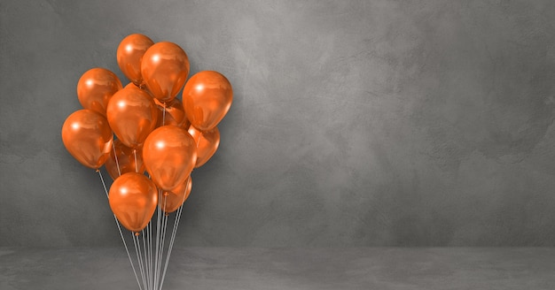 Orange ballons bündeln auf einem grauen wandhintergrund. horizontales banner. 3d-darstellung rendern