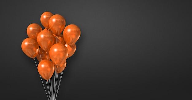 Orange ballons bündeln auf einem schwarzen wandhintergrund. 3d-darstellung rendern