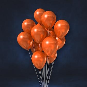 Orange ballons bündeln auf einem schwarzen wandhintergrund. 3d-illustration rendern