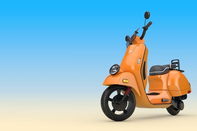 Orange classic vintage retro oder elektroroller auf blauem hintergrund 3d-rendering