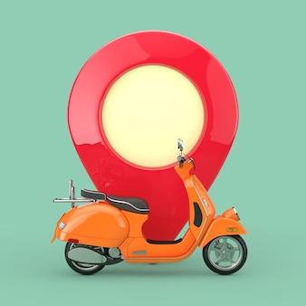 Orange classic vintage retro oder elektroroller vor karten-zeiger-pin auf grünem hintergrund. 3d-rendering