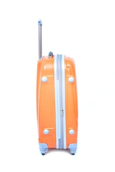 Orange des modernen großen koffers auf einem weiß
