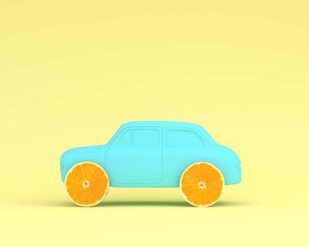Orange fruchtplanrad- und -autoblau auf gelbem pastellhintergrund. minimales essen und obst