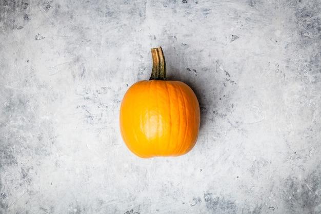 Orange herbstkürbis auf grauem konkretem hintergrund