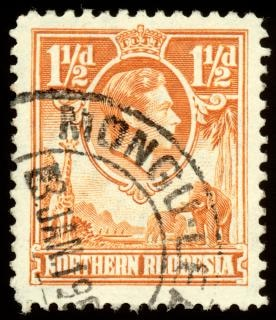 Orange king george vi stempel