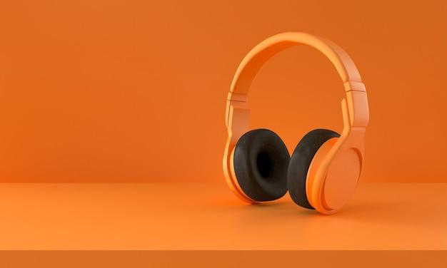 Orange kopfhörer auf orangem hintergrund. minimalistisches partykonzept. 3d-rendering