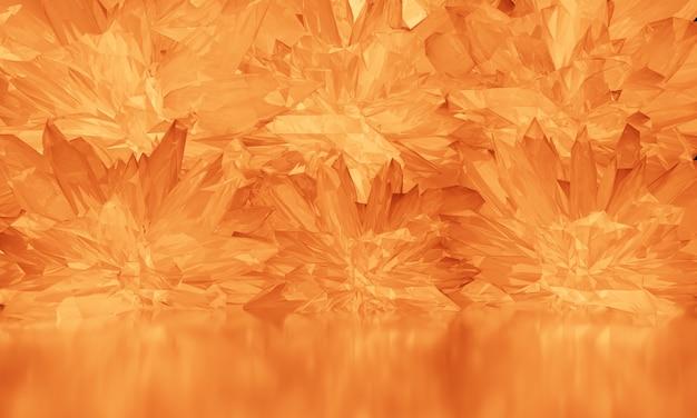 Orange kristall mit lichtreflexion auf glänzendem boden